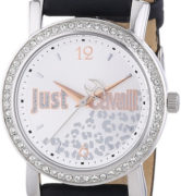 JUST CAVALLI MOON LADY - SS WHITE GOLD PLATED CASE - LEATHER STRAP - SILVER DIAL - QUARTZ   - ONLY TIME - MINERAL GLASS - 38mm - 5atm - 7251103510