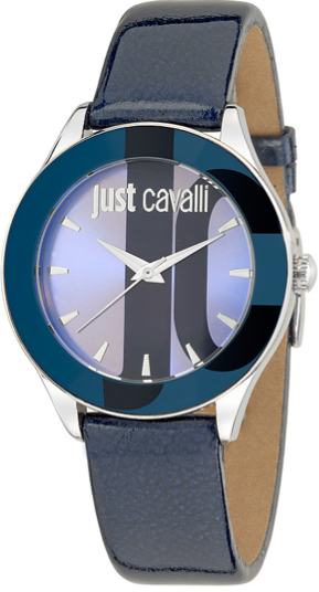 JUST CAVALLI SILK LADY - SS    CASE - LEATHER STRAP - BLUE DIAL - QUARTZ   - ONLY TIME - MINERAL GLASS - 37mm - 3atm - 7251592503