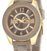 JUST CAVALLI JUST DREAM LADY - SS YELLOW GOLD PLATED CASE - RUBBER STRAP - SAND DIAL - QUARTZ   - ONLY TIME - MINERAL GLASS - 38mm - 5atm - 7251602505
