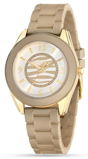 JUST CAVALLI JUST DREAM LADY - SS YELLOW GOLD PLATED CASE - RUBBER STRAP - WHITE DIAL - QUARTZ   - ONLY TIME - MINERAL GLASS - 38mm - 5atm - 7251602509