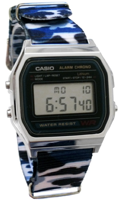 CASIO A158W_B1 NATO CAMOUFLAGE BLUE NAVY Timer. Alarm