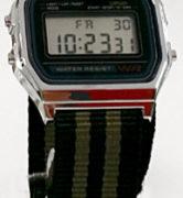 CASIO A158W NATO STRIPES ARMY GREEN/BLACK Timer. Alarm. WR 32 - A158W-NATO_E