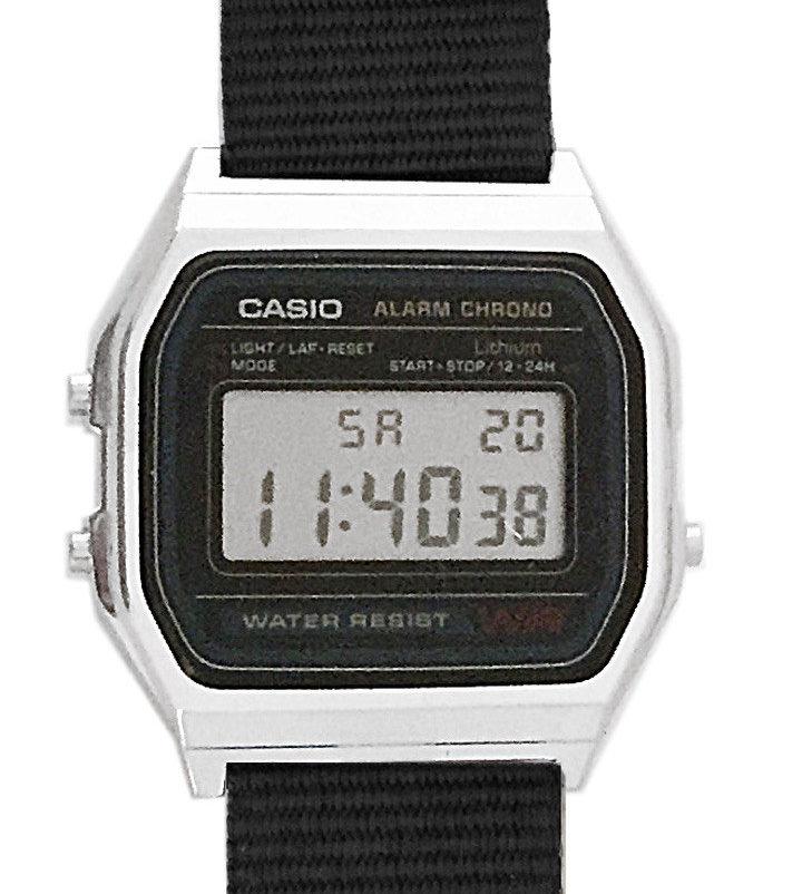 CASIO A158W NATO KHAKIBLACK Timer. Alarm