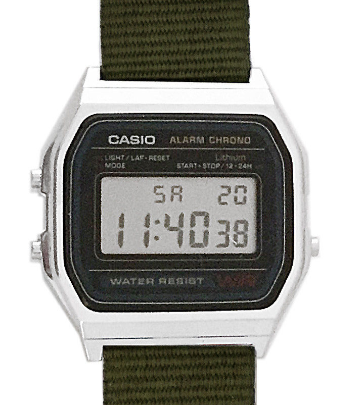 CASIO A158W NATO KHAKI ARMY Timer. Alarm