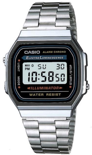 CASIO A168WA-1A Vintage Chrono, Electrolumin, Timer, Alarm, wr 30  – A168WA-1A 1