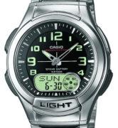 CASIO AQ-180WD-1B Dual Time, Date&Day, Chrono, Alarm, Timer, wr 100 - AQ-180WD-1B