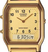 CASIO  AQ-230GA-9B DUAL TIME Gold Vintage - AQ-230GA-9B