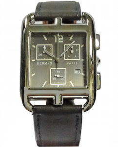 HERMES CAPE CODE CRONO QUARTZ SS CASE LEATHER STRAP - CC1-910-330-VBN