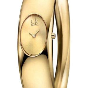 CK CALVIN KLEIN WATCH EXQUISITE M IP GOLD BANGLE IP GOLD DIAL - CK1Y22209