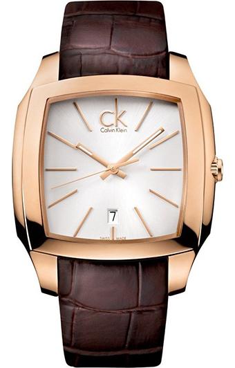 CK CALVIN KLEIN WATCH RECE SS IP GOLD  BROWN LEATHER STRAP SILVER DIAL - CK2K21620