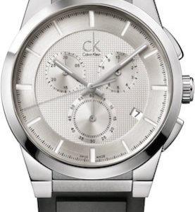 CK CALVIN KLEIN WATCH DART BR/GT CHRONO SS BLACK RUBBER STRAP SILVER DIAL - CK2S371D6