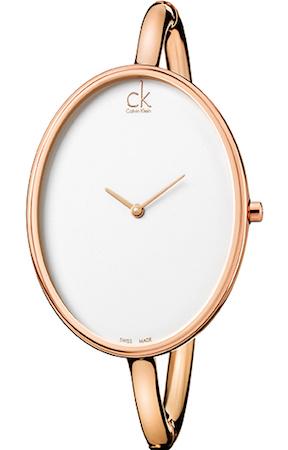 CK CALVIN KLEIN WATCH SARTORIAL M SS IP GOLD BANGLE SILVER DIAL - CK3D2M616