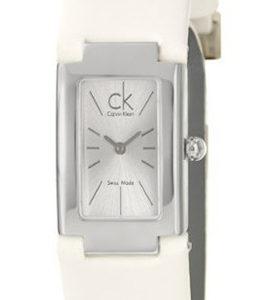 CK CALVIN KLEIN WATCH CK59 DRESS L SS SILVER DIAL WHITE LEATHER STRAP - CK5923138