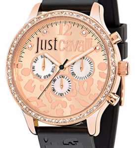 JUST CAVALLI HUGE IP Rose Gold -Strass -  Black Rubber  Strap - R7251127511