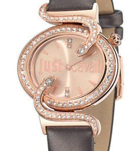 JUST CAVALLI SIN IP Rose Gold -Strass -  Black Leather  Strap - R7251591501