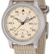 SEIKO5 SNK803 Automatic Day&date.  Canvas Strap Beige 37mm - SNK803