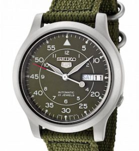 SEIKO5 SNK805 Automatic Day&date.  Canvas Strap Military Green 37mm - SNK805