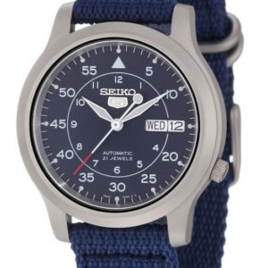 SEIKO5 SNK807 Automatic Day&date.  Canvas Strap Blue 37mm - SNK807