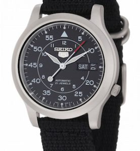 SEIKO5 SNK809 Automatic Day&date.  Canvas Strap Black 37mm - SNK809