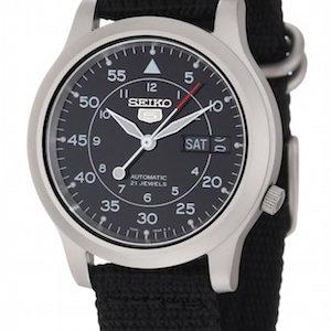 SEIKO5 SNK809 Automatic Day&date.  Canvas Strap Black 37mm - SNK809