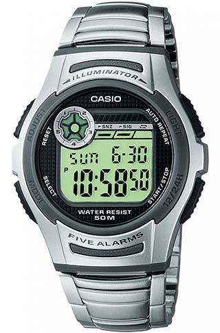 CASIO W-213D-1A Dual Time, Chrono, Auto calendar, Multi alarm, wr50 - W-213D-1A