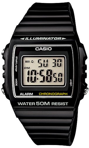 CASIO W-215H-1A  BLACK Illuminator, Chrono, Alarm, Led light, wr50 - W-215H-1A