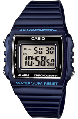 CASIO W-215H-2 BLUE Illuminator, Chrono, Alarm, Led light, wr50 - W-215H-2