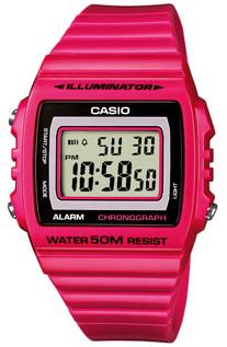 CASIO W-215H-4 FUCSIA Illuminator, Chrono, Alarm, Led light, wr50 - W-215H-4