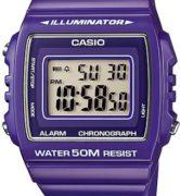 CASIO W-215H-6 PURPLE Illuminator, Chrono, Alarm, Led light, wr50 - W-215H-6