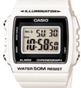 CASIO W-215H-7A WHITE Illuminator, Chrono, Alarm, Led light, wr50 - W-215H-7A